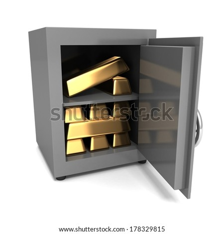 Stack of golden ingots in steel bank vault safe