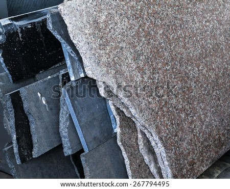 stack of granite slab - marble industry factory rough surface sandstone - stock photo