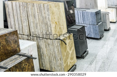stack of granite slab - marble industry factory smooth surface sandstone grey background