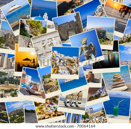Stack of Greece shots  - nature and travel background (my photos) - stock photo