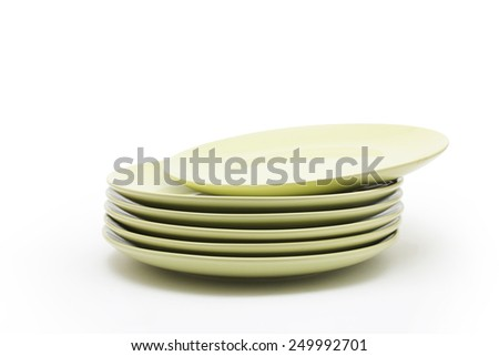Stack of green plates - stock photo