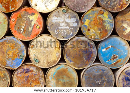 stack of grunge drums - stock photo