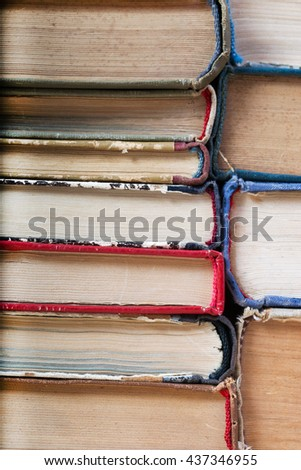 Stack of hardback books, close-up. Back to school. Copy space. - stock photo