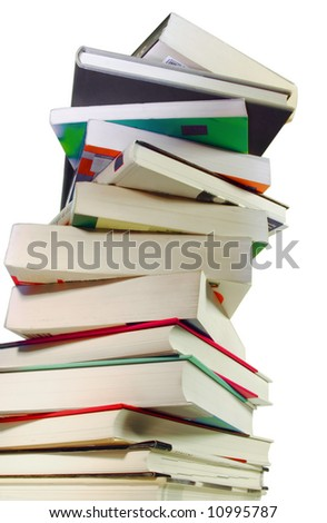 Stack of hardcover books isolated on white background. - stock photo