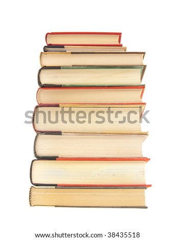 Stack of hardcover books on white