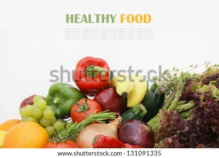 Stack of healthy fruit and vegetables