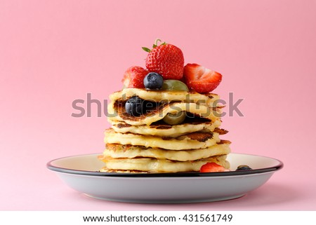 stack of hot pancakes, food close-up