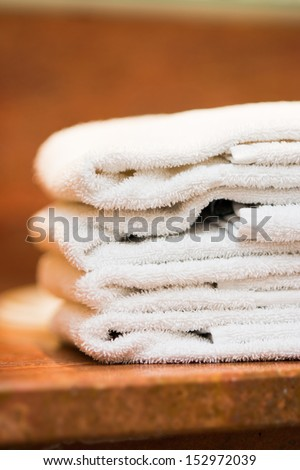 stack of hotel towels - stock photo
