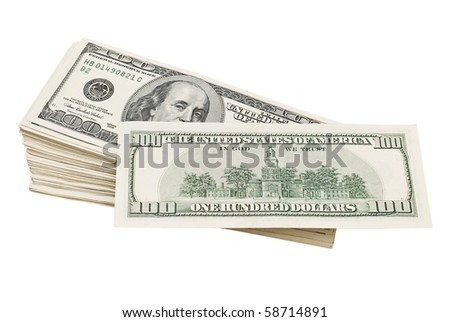stack of hundred-dollar bills isolated on white .