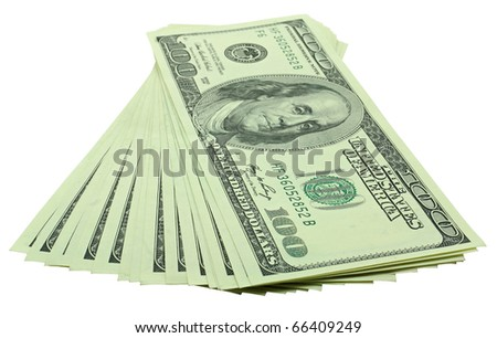 stack of hundred dollars banknotes isolated on white background