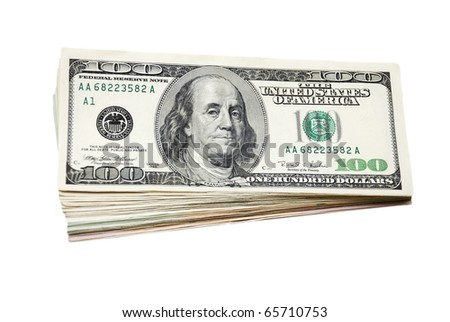 Stack of hundreds US dollars. - stock photo