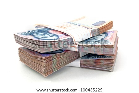 Stack of Hungarian Forint bills - stock photo