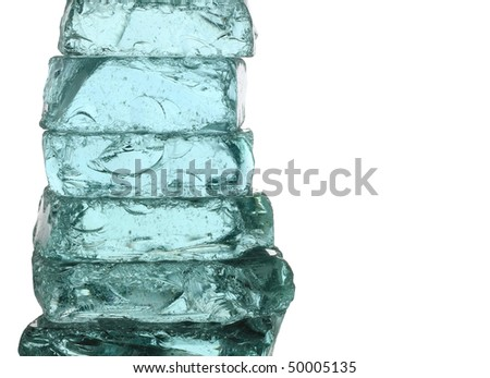 Stack of ice blocks. Concept of strength and transparency.