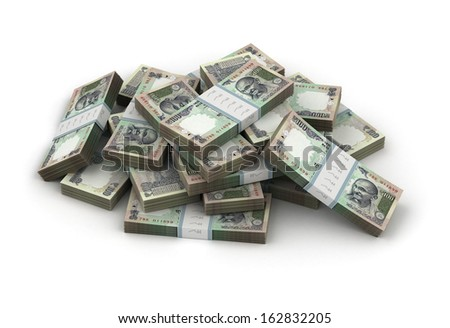 Stack of Indian Rupee - stock photo