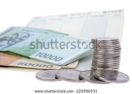 Stack of korea money isolated on white background - stock photo