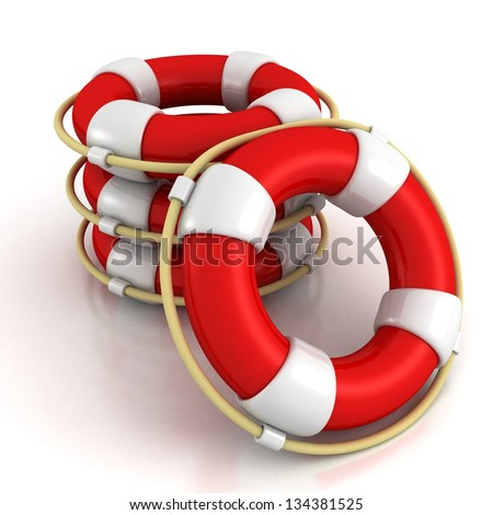 Stack Of Life Buoys on a white background - stock photo