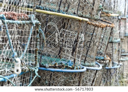Stack of Lobster Pots -- differential focus - stock photo