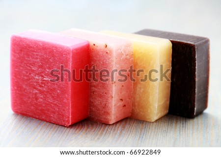 stack of lovely fruity soaps - beauty treatment - stock photo