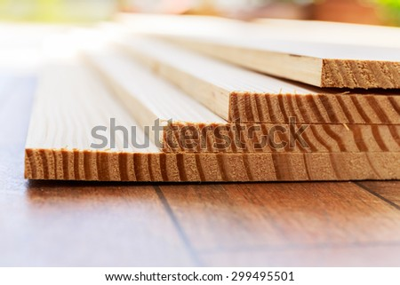Stack of lumber wood - stock photo