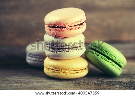 Stack of Macaroons on Wood background