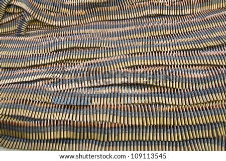 Stack of  machine gun ammunition - stock photo
