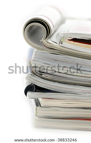 Stack of magazines and brochures
