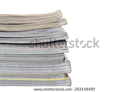 stack of magazines close-up - stock photo