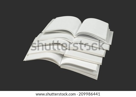 Stack of magazines isolated on a gray background.