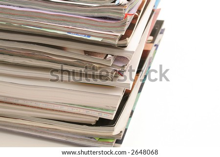 stack of magazines on top angle