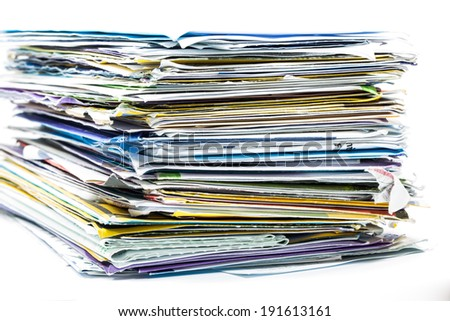 stack of mail on white background