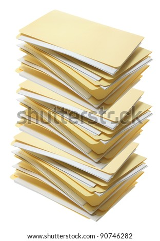 Stack of Manila File Folders on White Background - stock photo