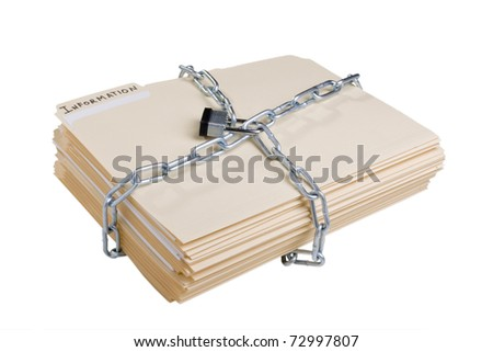 Stack of manila folders wrapped with a metal chain and closed with a lock. - stock photo
