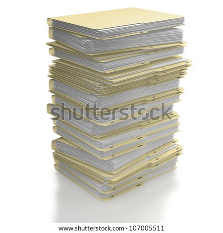 Stack of manila office folders or files on white background - stock photo