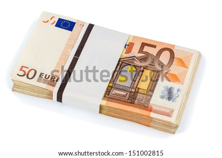 stack of many fifty euro banknotes. symbolic photo for money, wealth, income and expenses - stock photo
