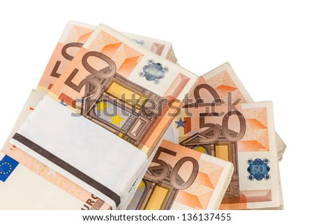 stack of many fifty euro bills. symbolic photo for money, wealth, income and expenditure - stock photo