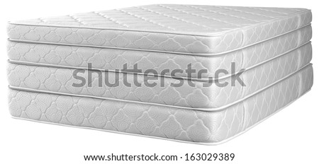 Stack of mattresses. - stock photo