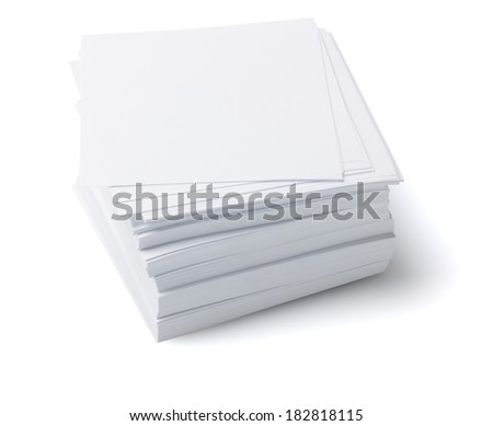 Stack Of Memo Papers On White Background - stock photo