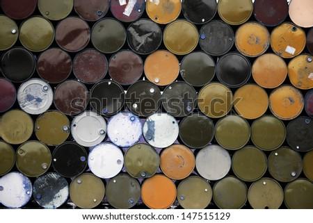 stack of metal barrel. - stock photo