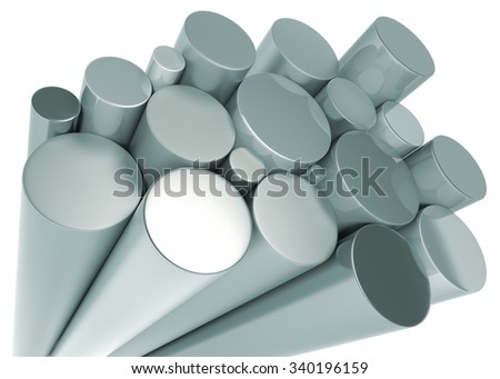 Stack of Metal Cylinder. Isolated On White. 3D Rendering