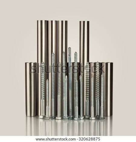 Stack of metal pipes. Chrome steel tubes