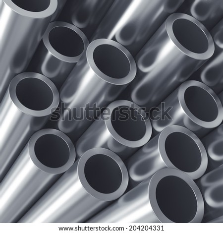 Stack of metal tubes. Industry quality background. - stock photo