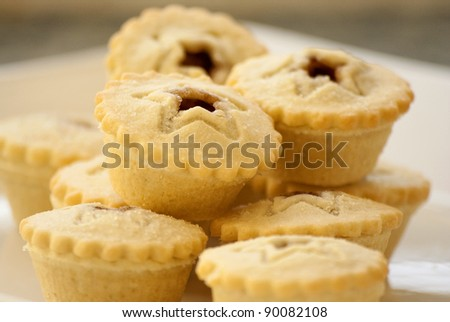 Stack of mince pies - stock photo