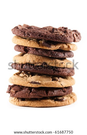 Stack of mixed double chocolate and chocolate chip cookies against a white isolated background. - stock photo