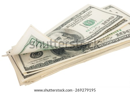 Stack of money american hundred dollar bills - stock photo