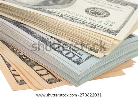 Stack of money american hundred dollar bills - stock photo