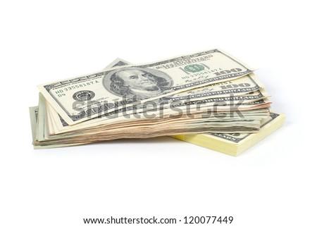 Stack of money- cash of US dollars isolated on white background - stock photo