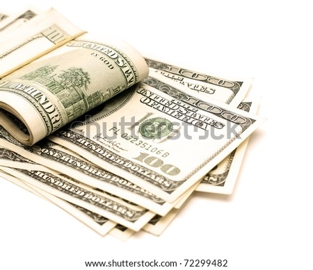 Stack of money on the white background