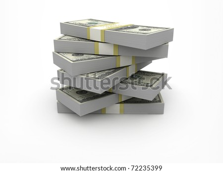 Stack of money on white background - stock photo