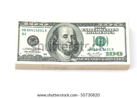 stack of money on white isolated background.  studio photo.