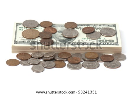 stack of money on white isolated background.  studio photo. - stock photo
